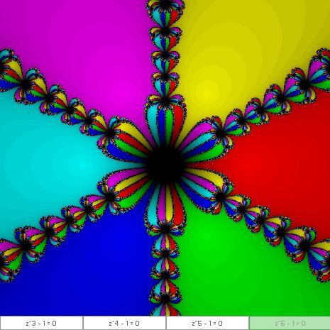ニュートン法によるフラクタル(4) ~3乗以外の冪乗で根による塗り分け~ by Aquioux