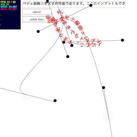 ベジェ曲線上を等速で走る文字列 by kawamura