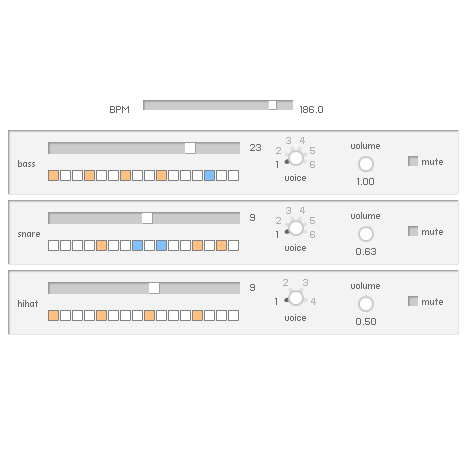 DrumMachine pattern and voice selector