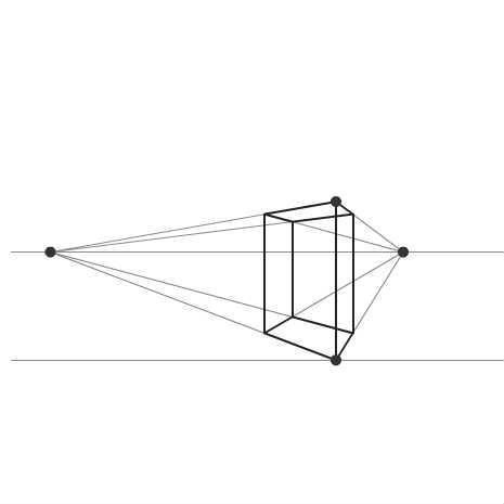 2点透視図法で描く立方体  by shinano_cake_koubou